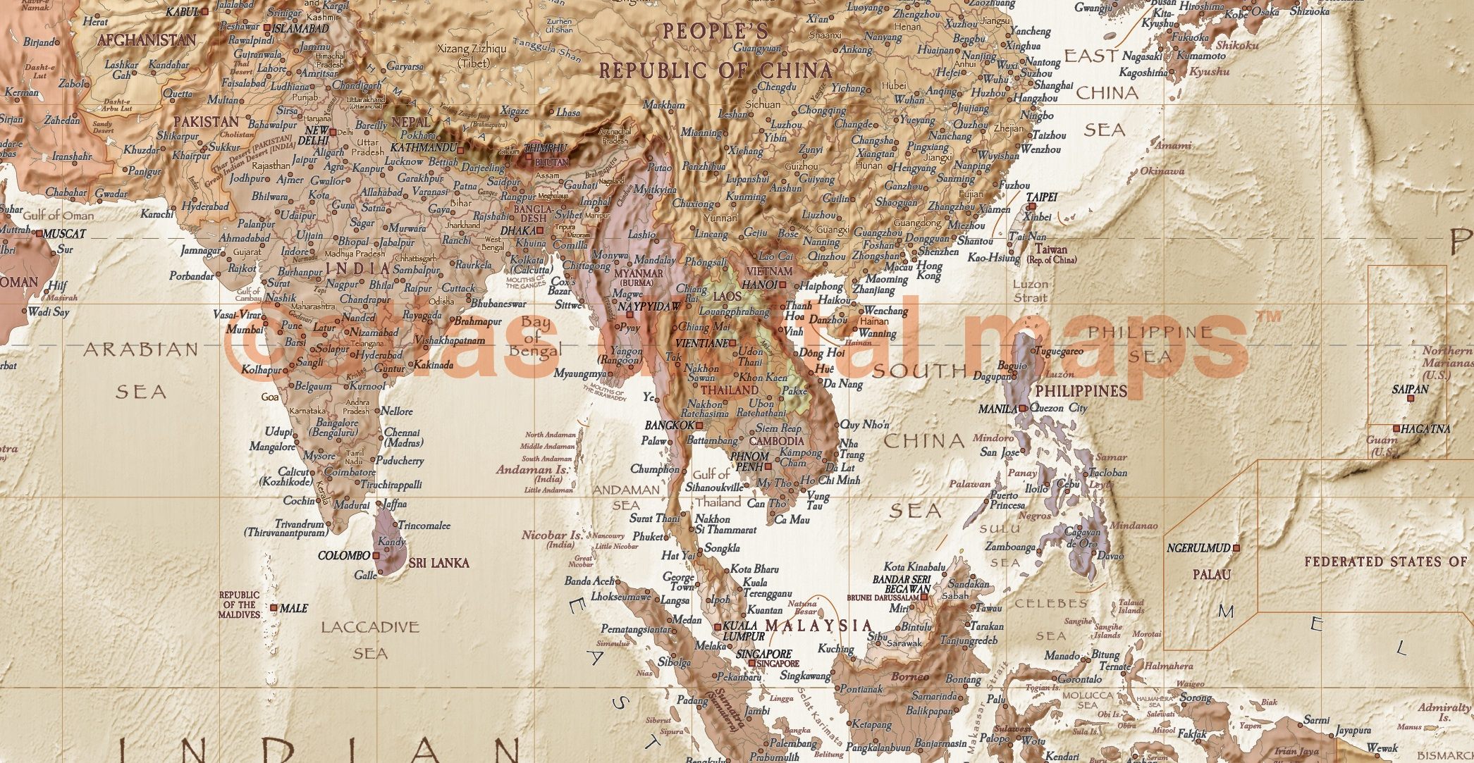 Rolled CANVAS World Map Antiquestyle Sand Physical Political - Framing a map print