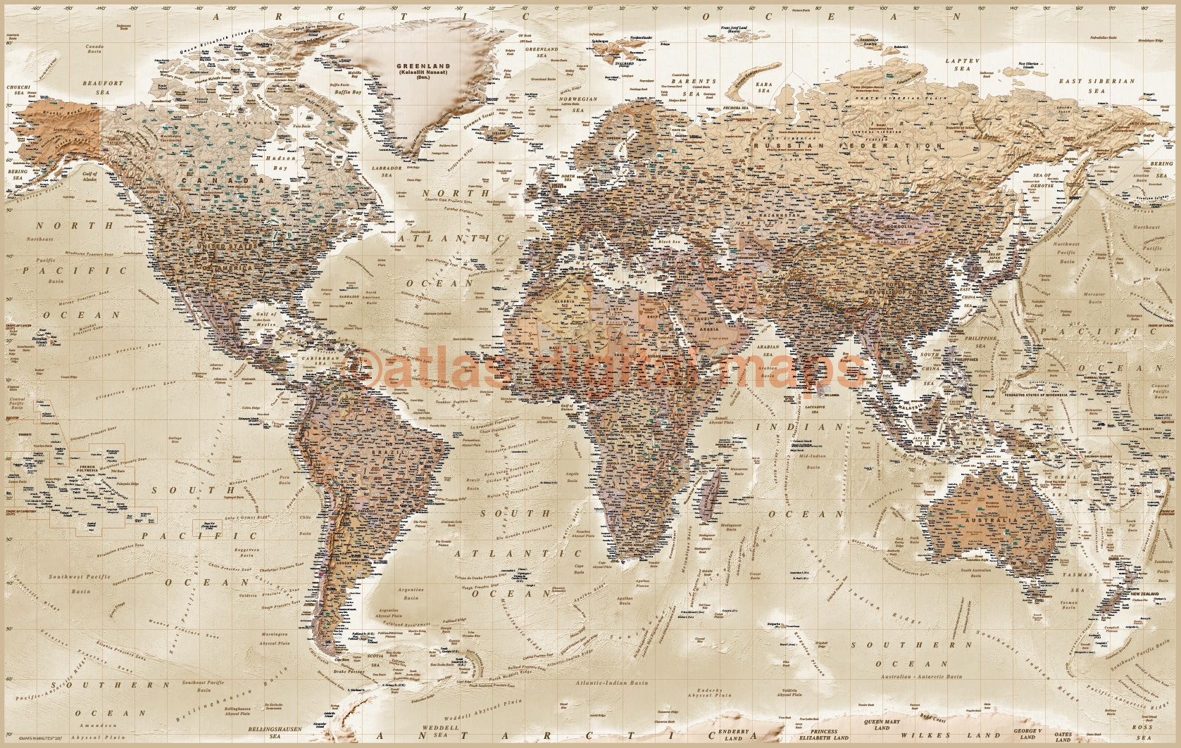 Rolled Canvas World Wall Map Tan and Sand with Bold text