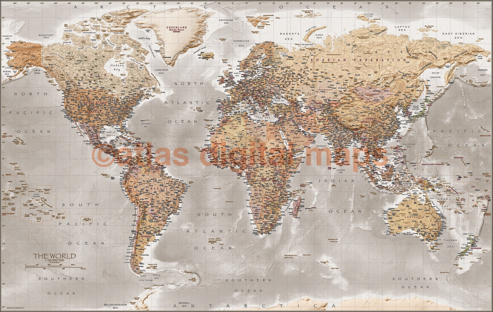 World wall map canvas 60 x 38 framed canvas antique style stone world map size 60w x 38d gumiabroncs Choice Image