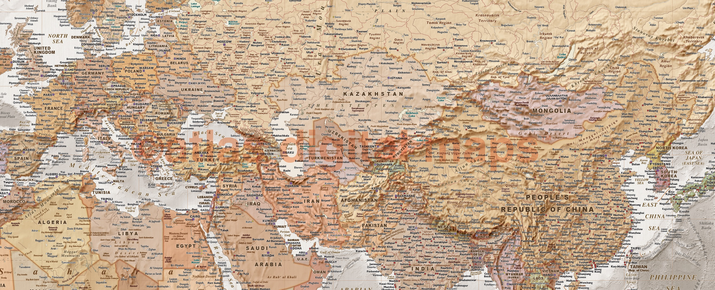Rolled canvas world wall map tan and stone grey oceans large 60 x framed canvas world map antique style tan and stone size 60w x 38 sciox Images