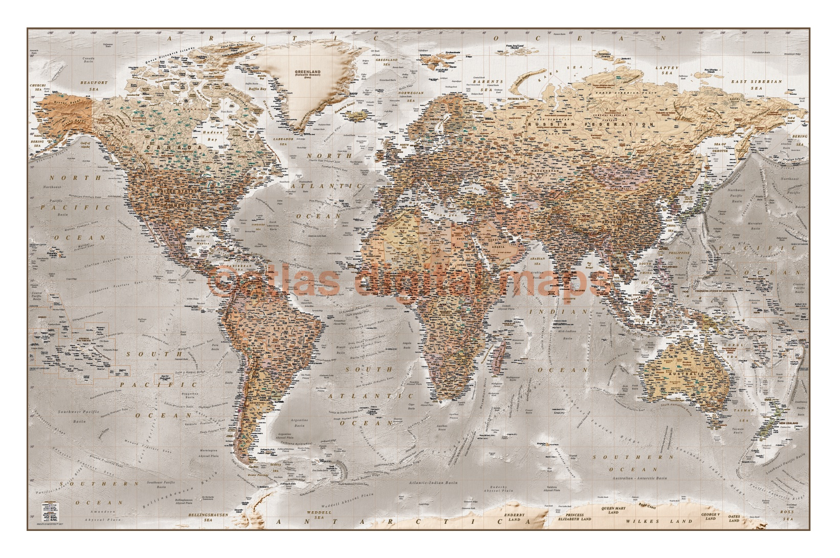 Framed canvas world wall map tan and stone large 60 x 38 antique style framed canvas world map antique style tan and stone size 60w x 38 gumiabroncs Images