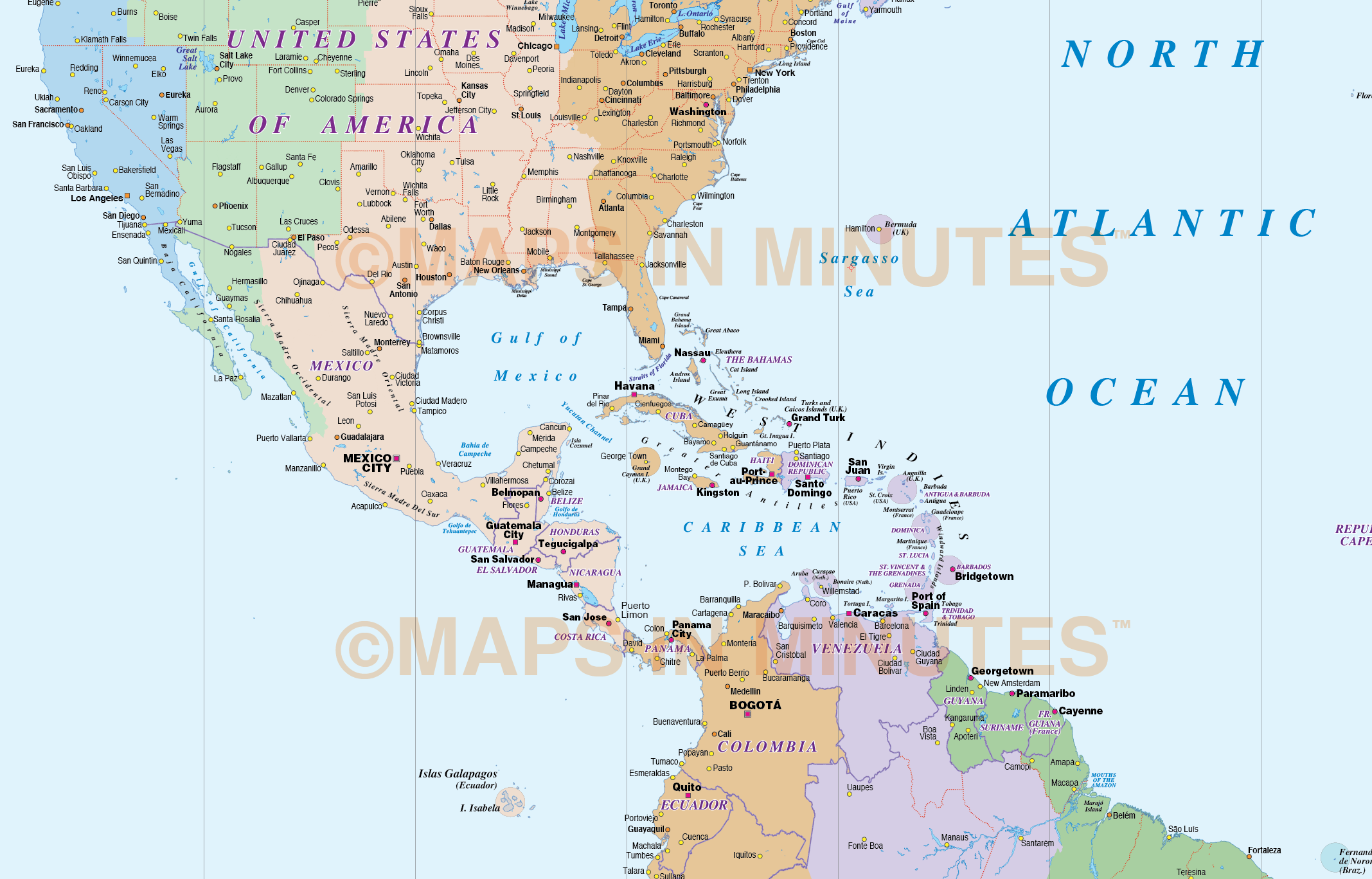 North and South America Time Zones Map in illustrator AI CS vector ...
