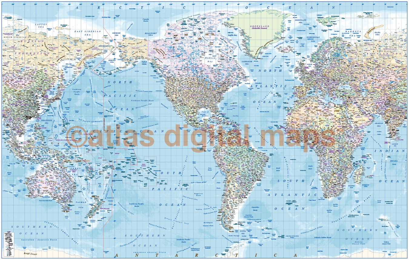 Framed CANVAS World Map Political Ocean Contour Relief US - World atlas usa