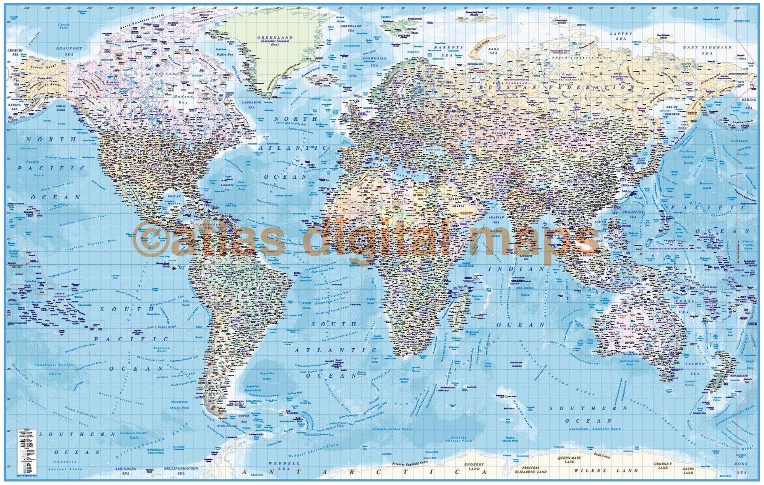 Rolled canvas world wall map print political ocean contour relief framed canvas world map political ocean contour relief size 60w x 38 gumiabroncs Images