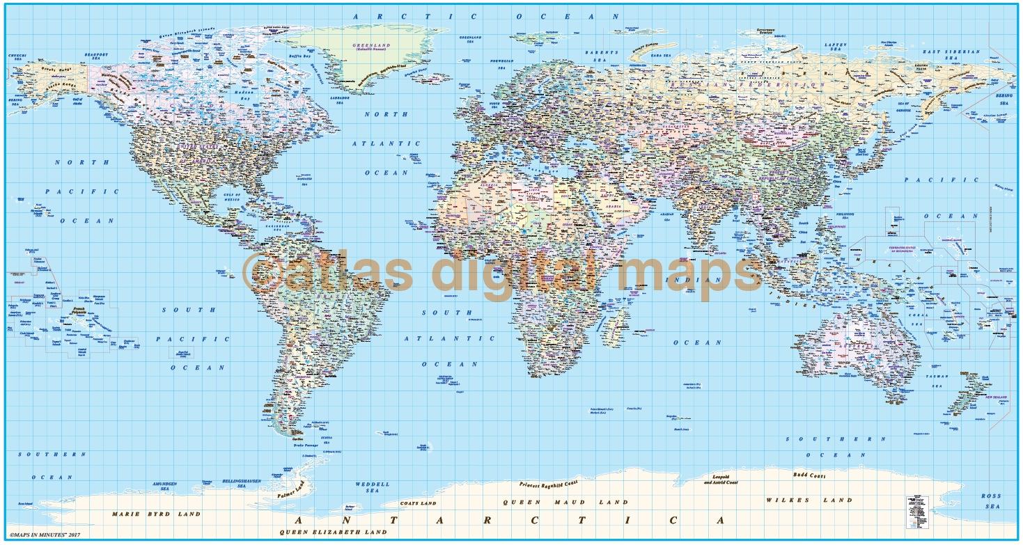 ... VINYL World Political Map Print   Wide 1.83m Wide X .96m Deep (72 ...