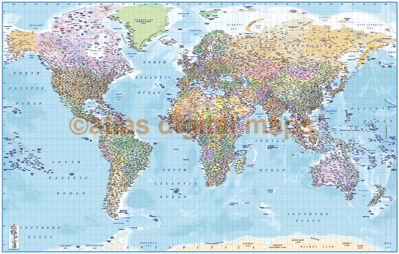 Framed canvas world wall map political ocean contours size 60 framed canvas world map political ocean contours size 60w x 38d gumiabroncs Image collections