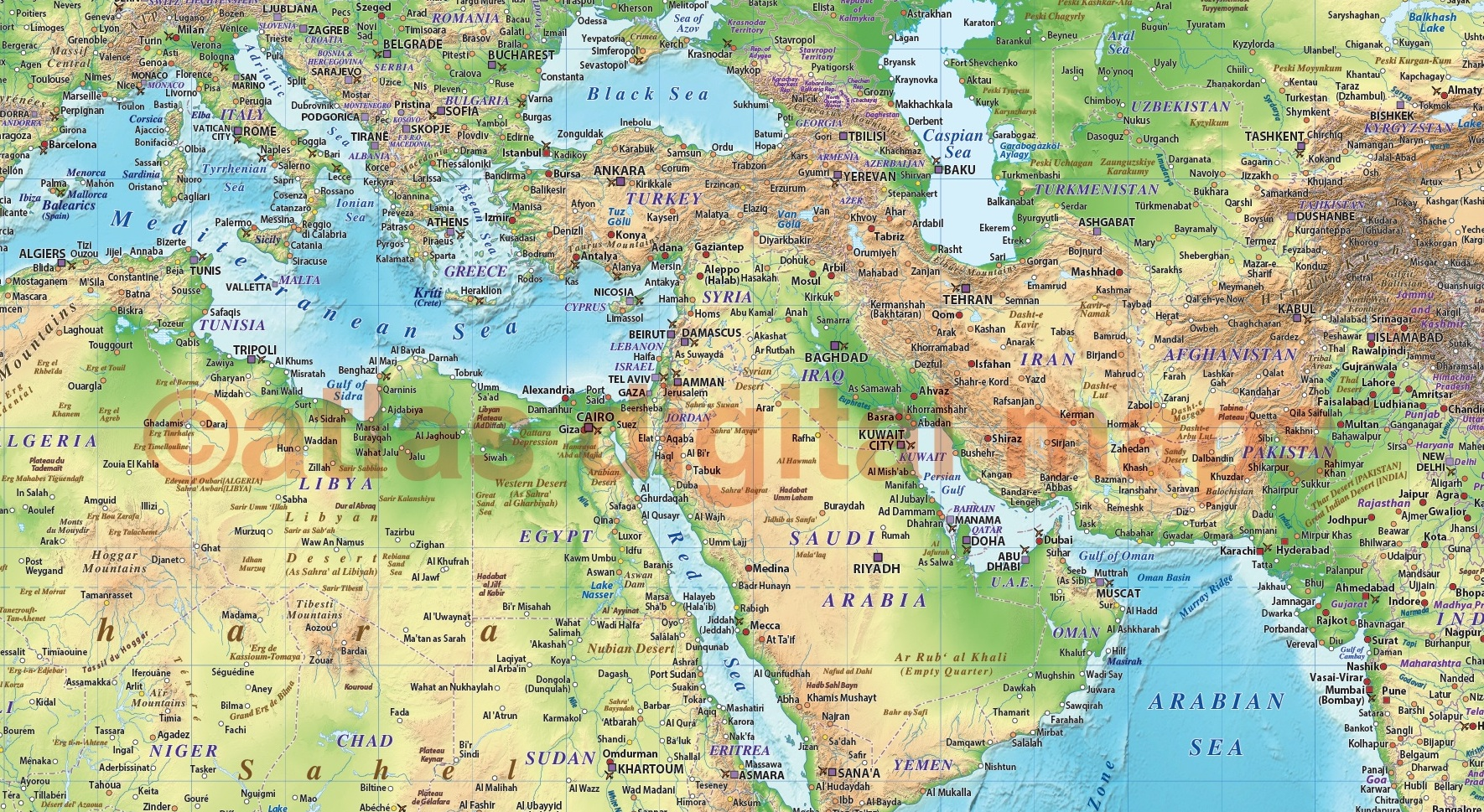 Regular style Contemporary Vinyl Relief World Wall Map 60 wide x 38