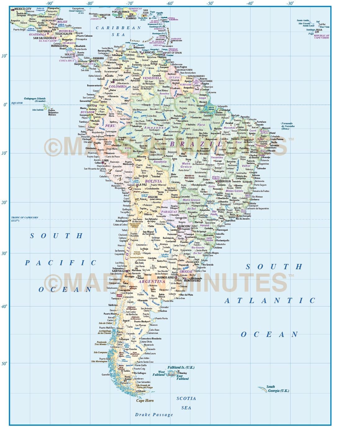 Digital Vector South America Countries Political Map With Country