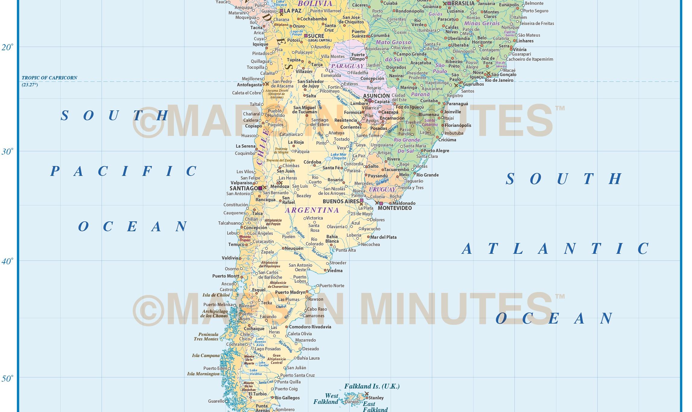 Digital Vector South America Political Map  Scale In - Political south america map