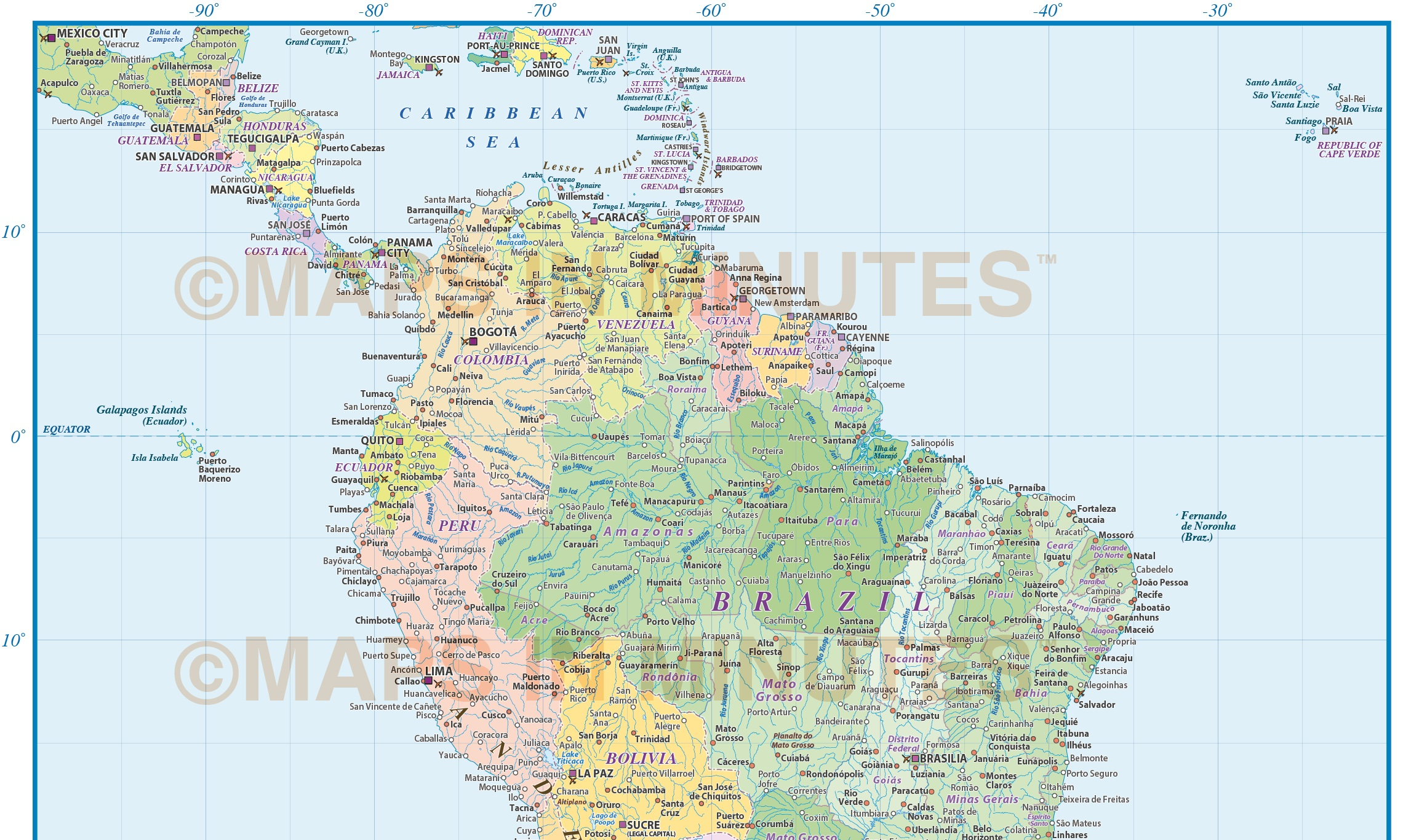 Digital Vector South America Political Map Scale In - South america map brazil