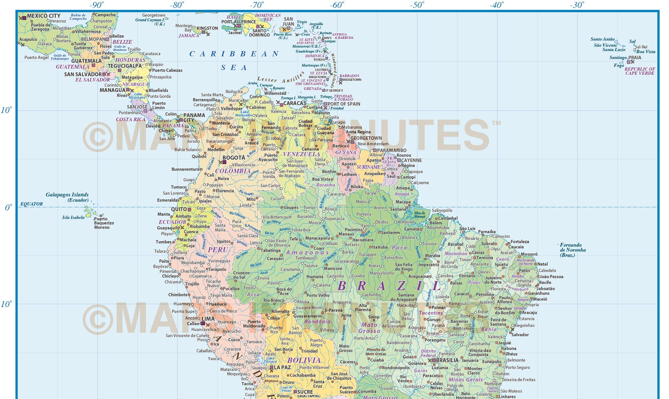 Digital Vector South America Political Map Scale In - Brazil south america map