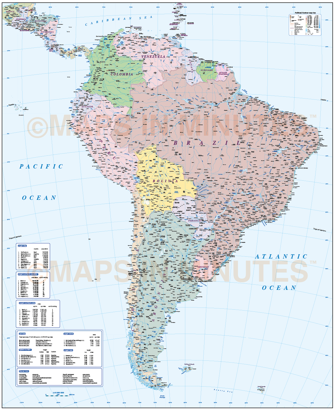 Digital Vector South America Map Deluxe Political Road Rail Map - Physical map of south america
