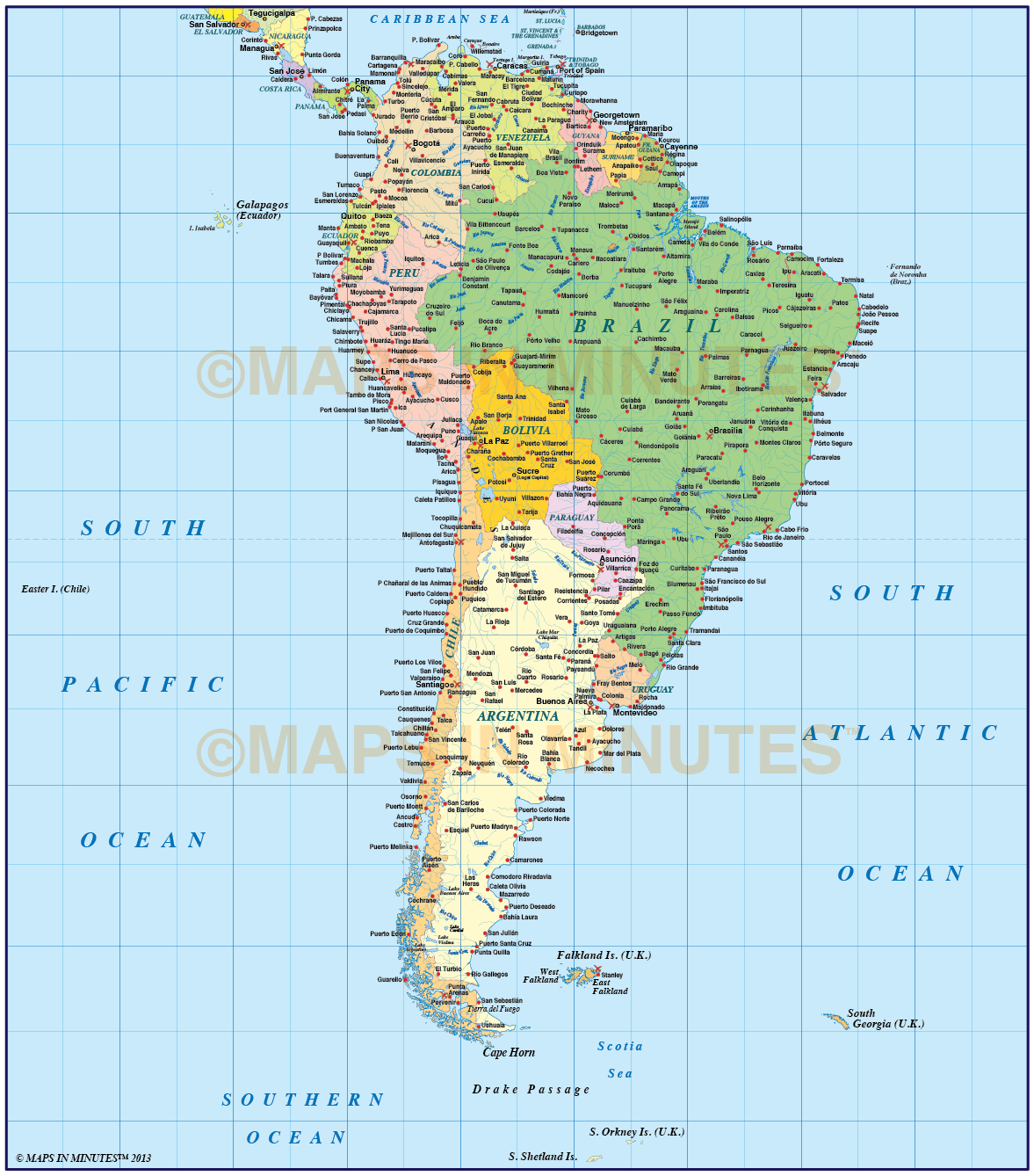 Digital vector maps in illustrator format gall projection large central america basic map vector world map collection illustrator cs format political style south america basic map gumiabroncs Image collections