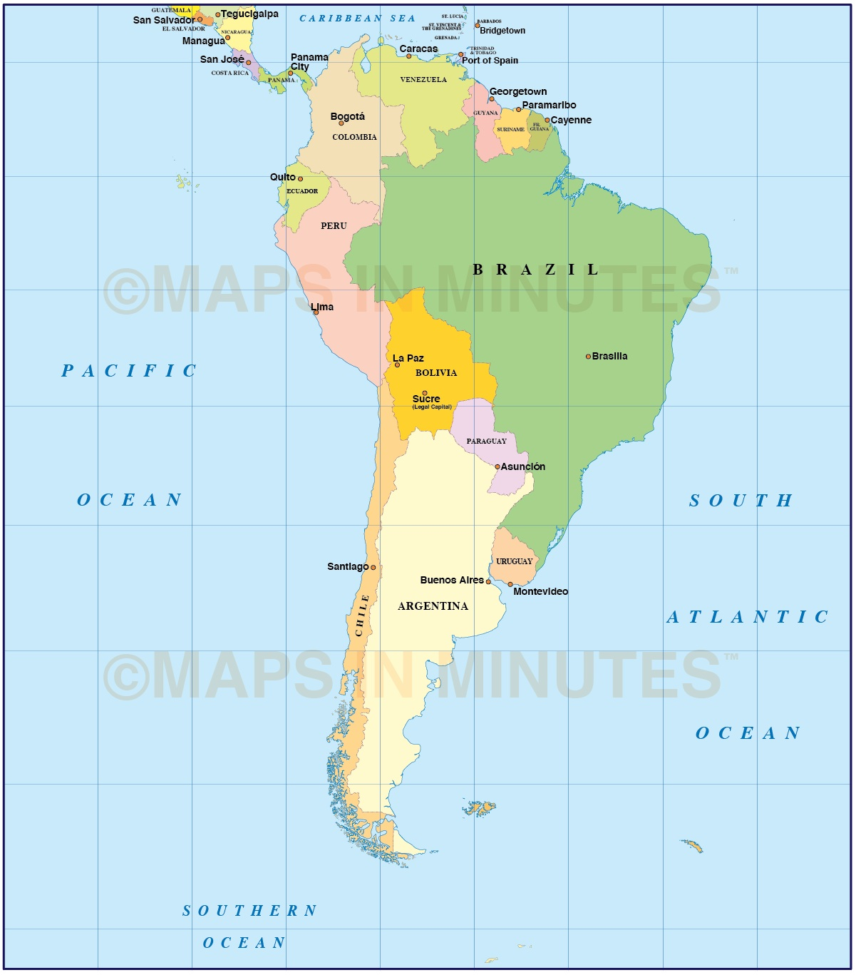 Digital Vector South American Countries Map In Illustrator And PDF - South america cities map