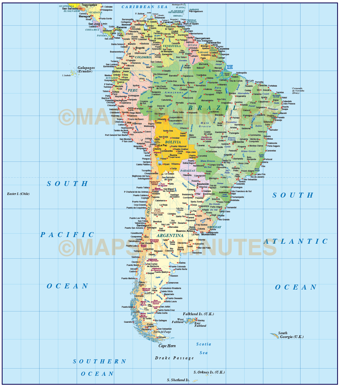 Digital vector south america political map with sea contours digital vector south america political map with sea contours turned off gumiabroncs Images