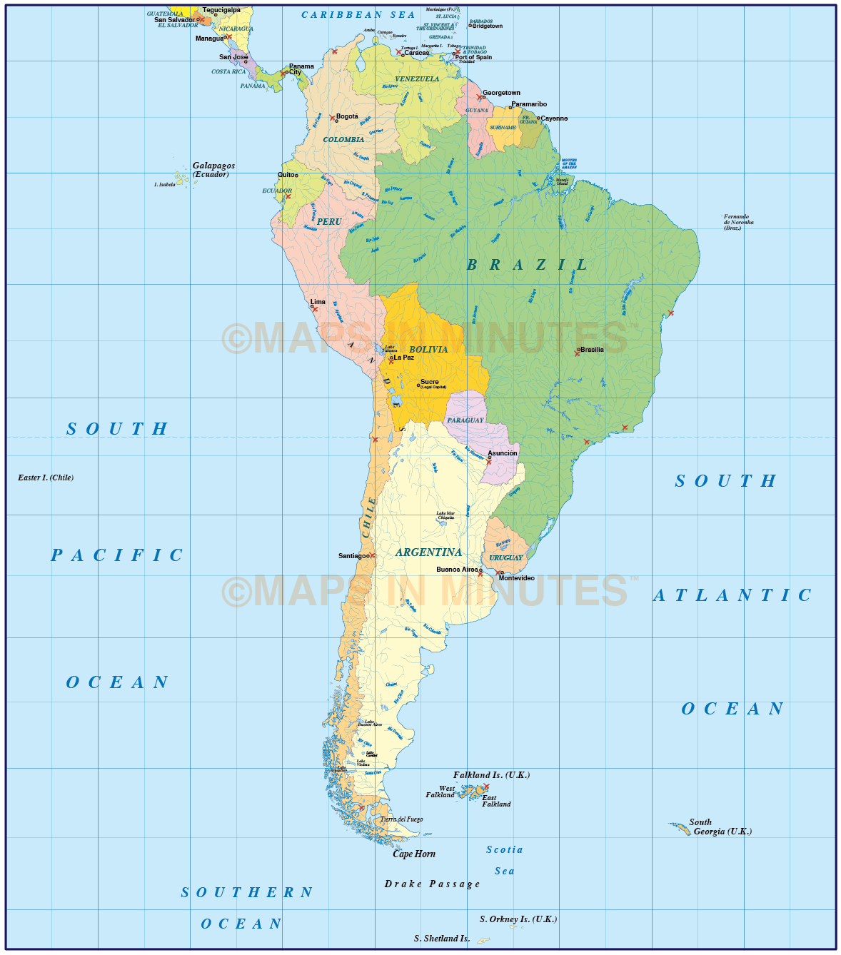Vector South America Political Map In Ai Illustrator And Pdf Formats