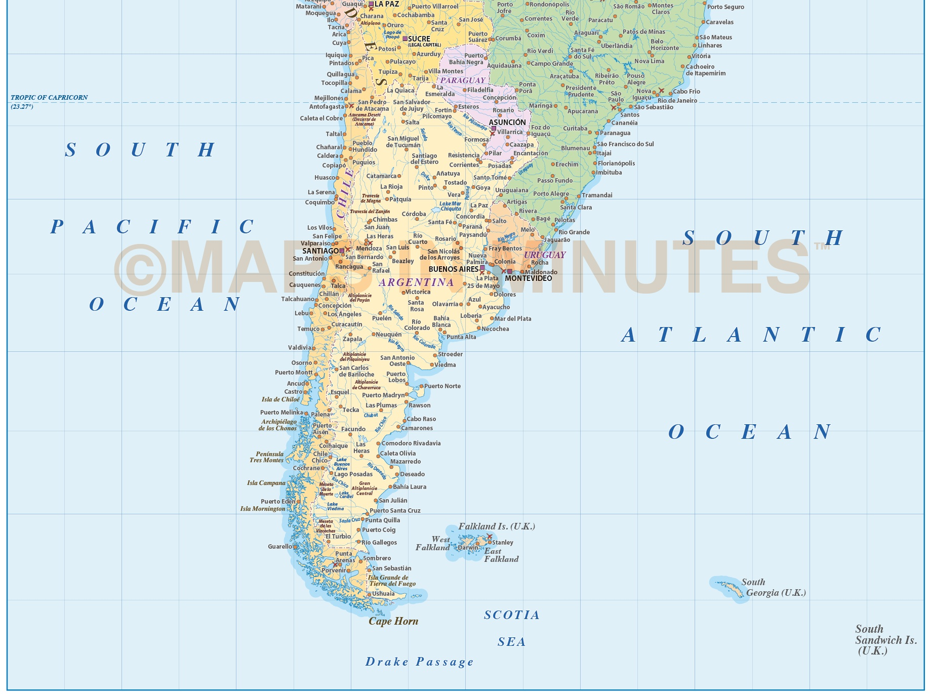 Digital Vector South America Political Map Large Scale In - Political south america map