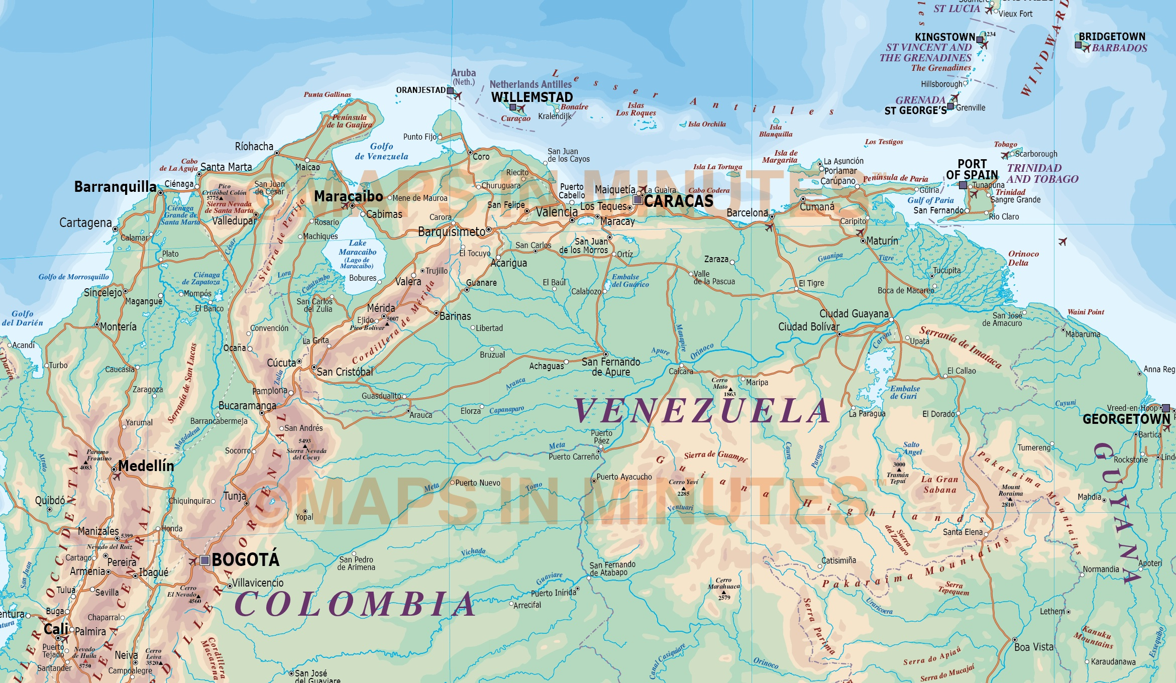 Digital Vector South America Map Deluxe Political Road Rail Map - Aruba map vector