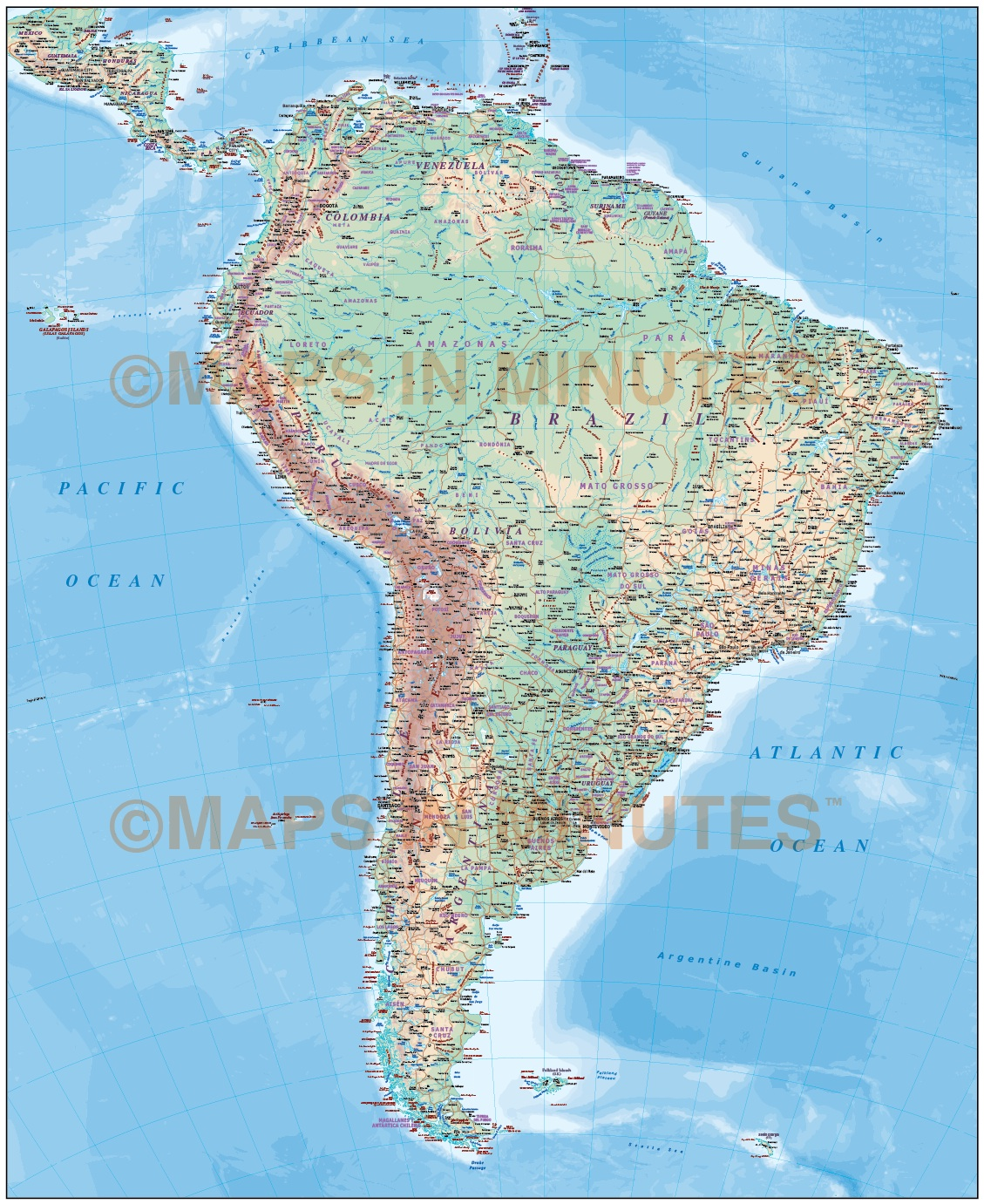 Digital vector South America map. Deluxe Political Road & Rail Map ...