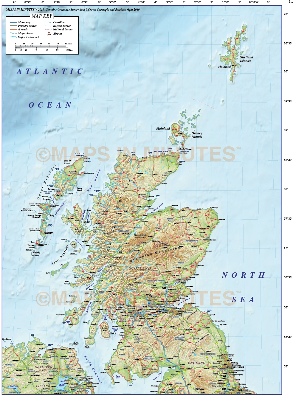 Vector Scotland Regions Road Map with high resolution ...