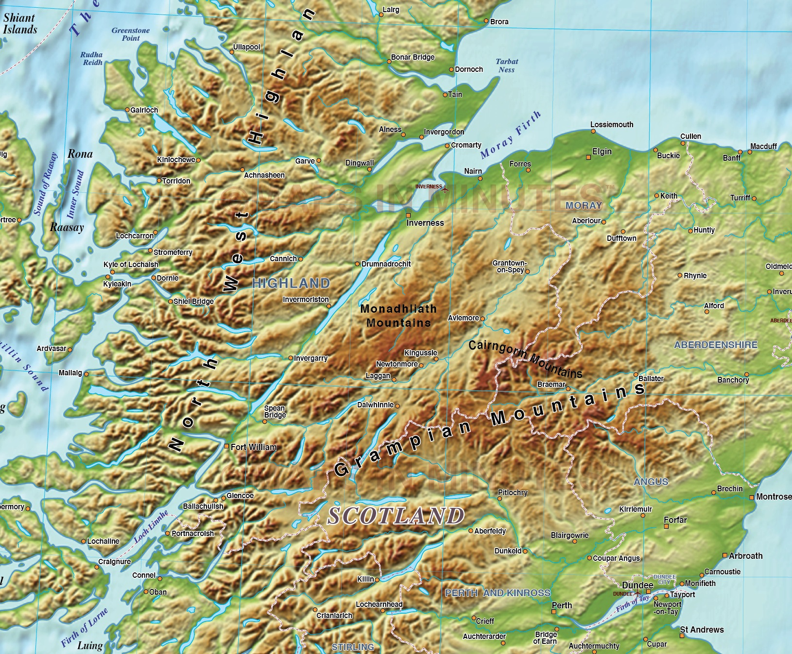 scotland regions map with 600dpi high res strong colour relief  5 000 000 scale in illustrator