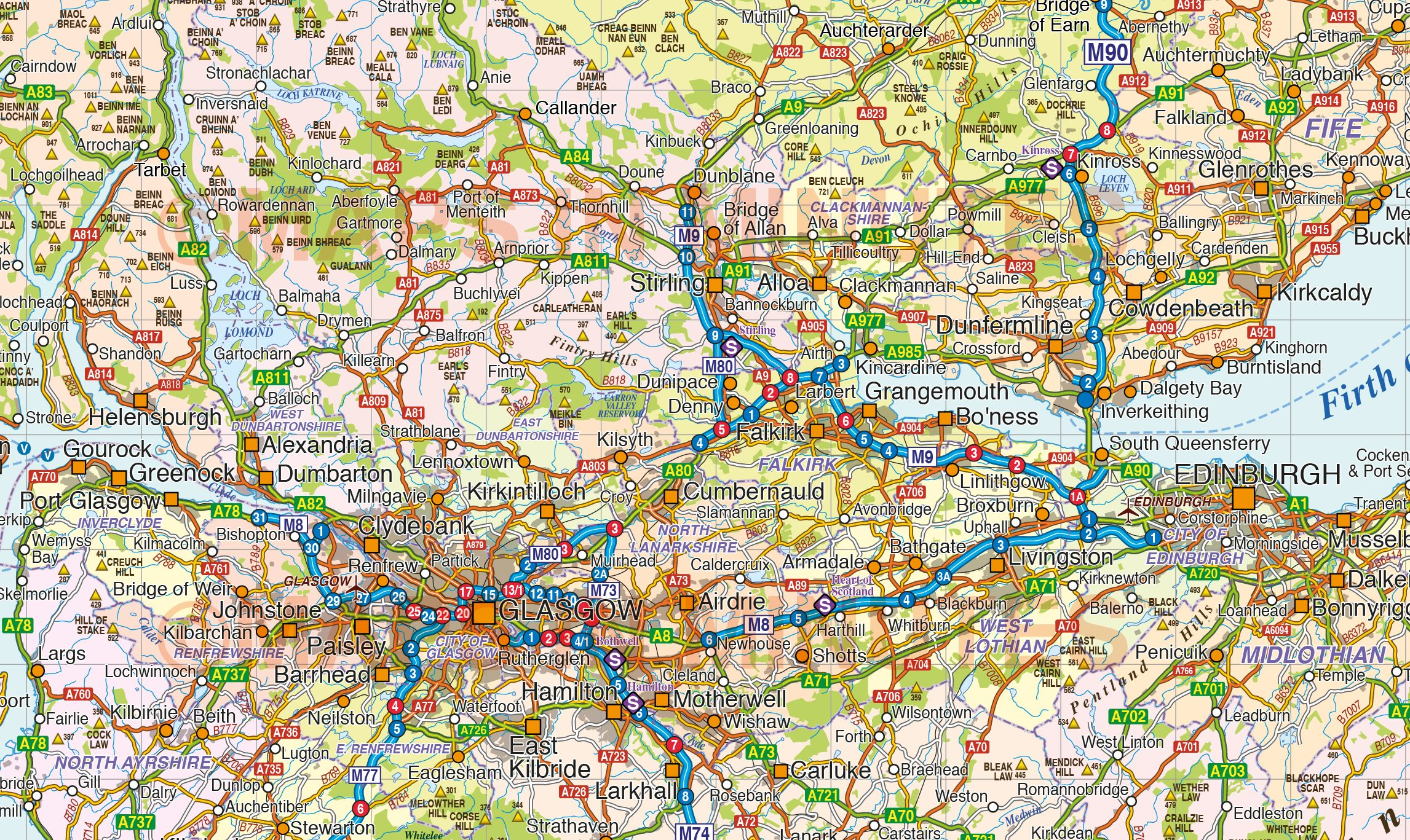 Road Map Of England And Scotland.Vector Scotland Map Regions Political Road Rail With High Res
