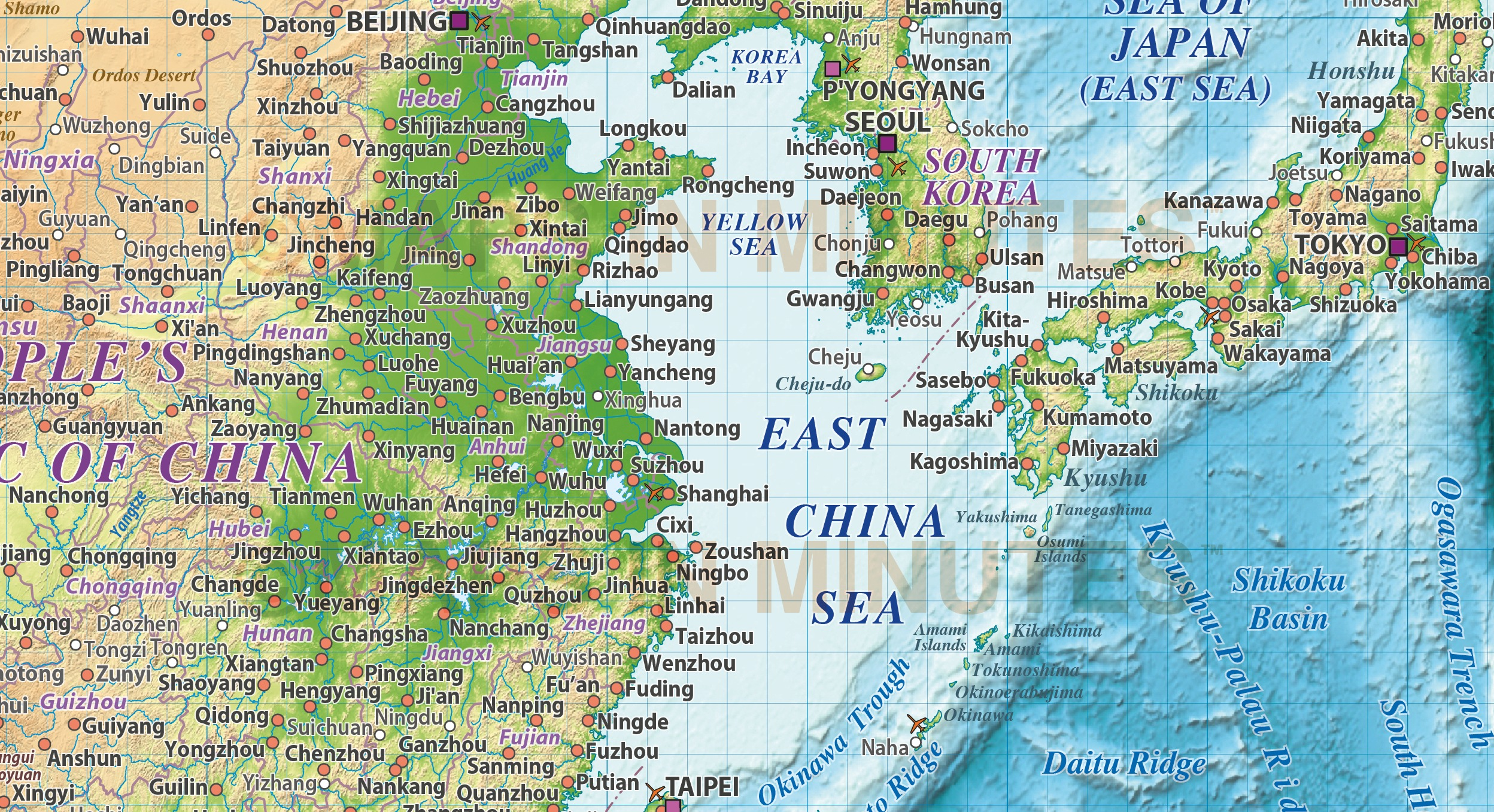 vector south east asia political map with colour relief background for land and ocean floor