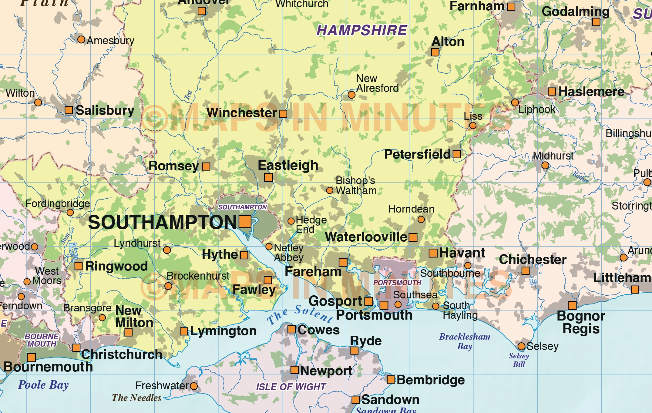 South Of England Map Uk.Digital Vector South East England Map With Strong Shaded Relief In
