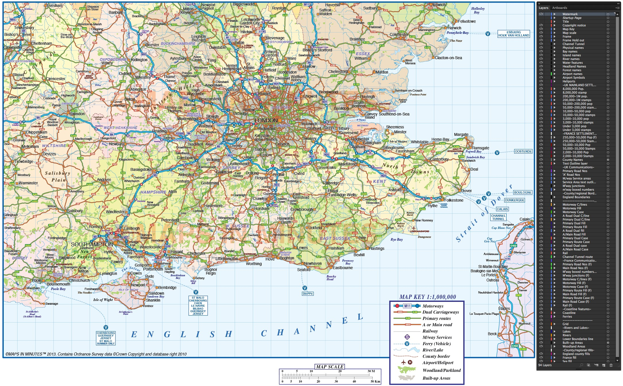 vector south east england map  county political road and rail map  1m scale in illustrator cs