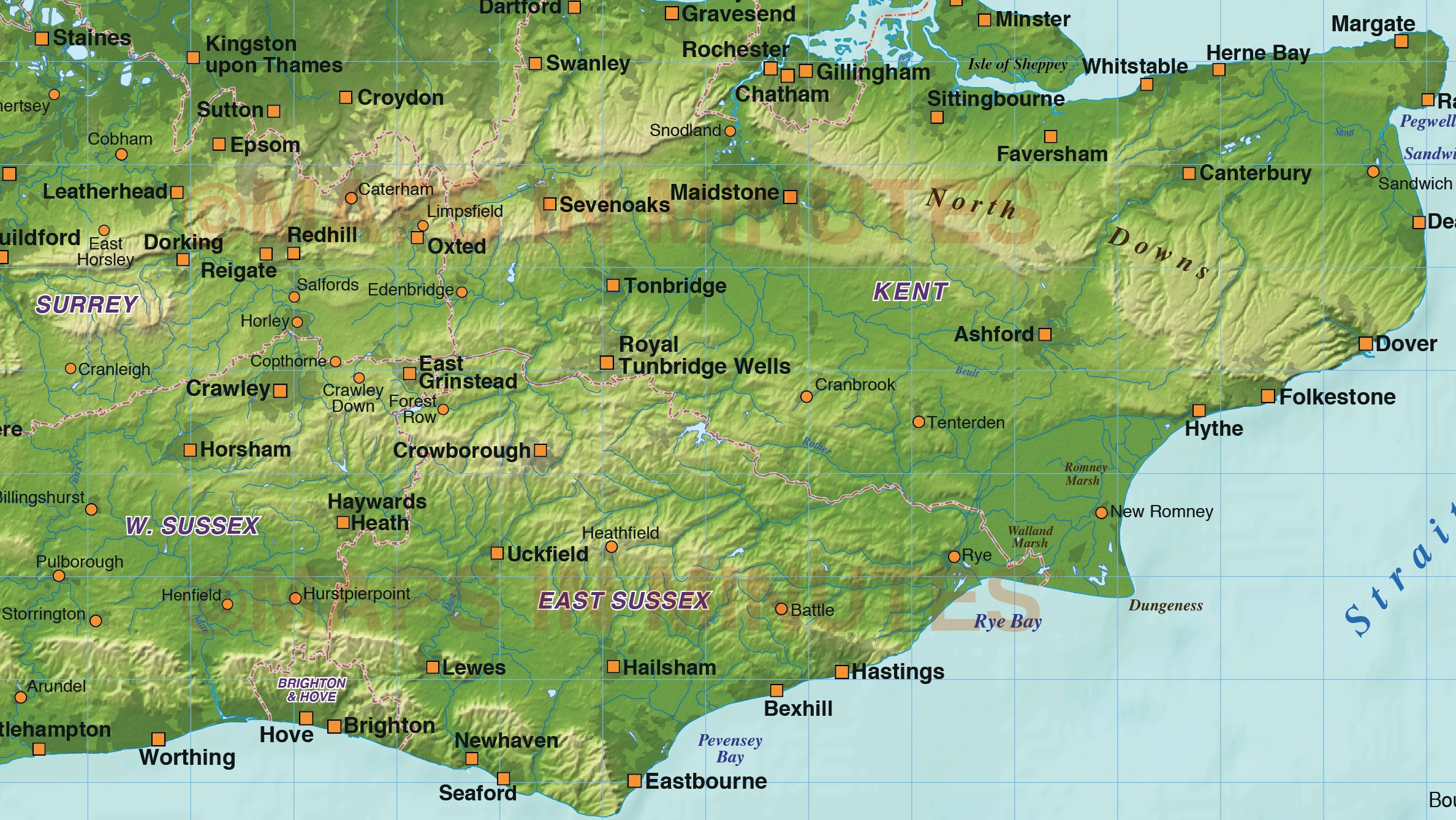 S E England Map.Digital Vector South East England Map With Strong Shaded Relief In