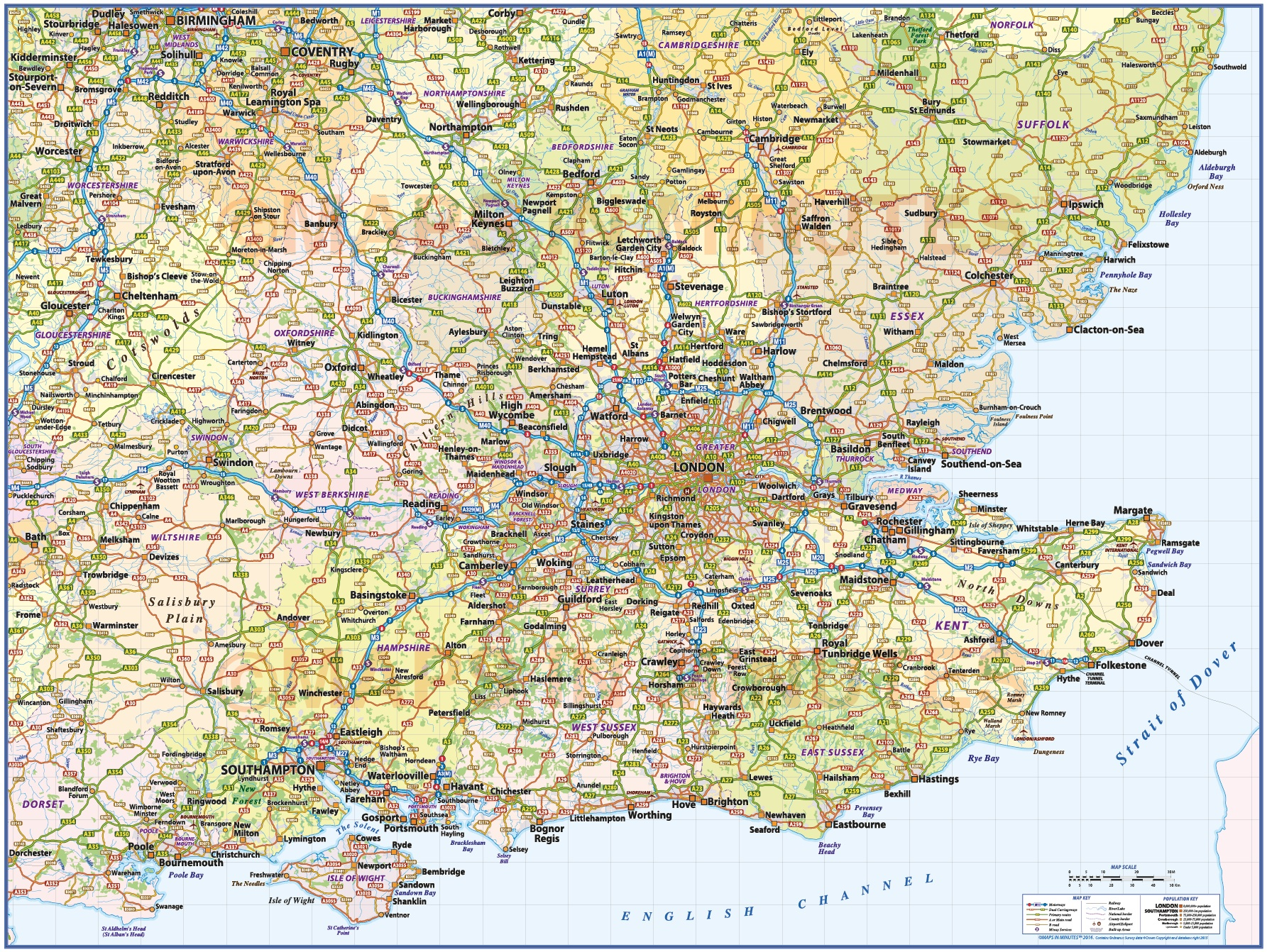 South East England 1st Level County Wall Map With Roads And Rail