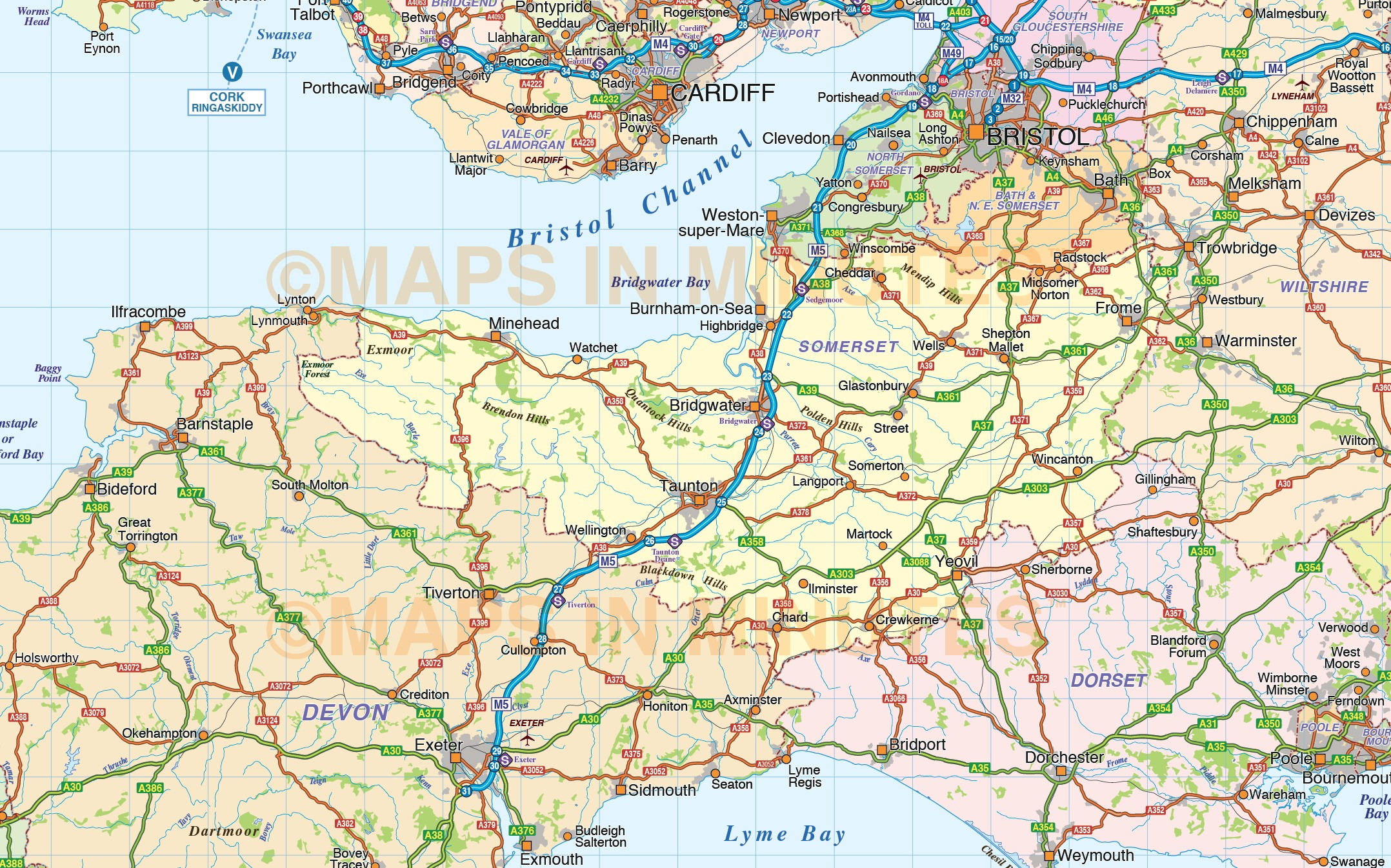 South West England County Road And Rail Map At M Scale In - Downloadable us road map