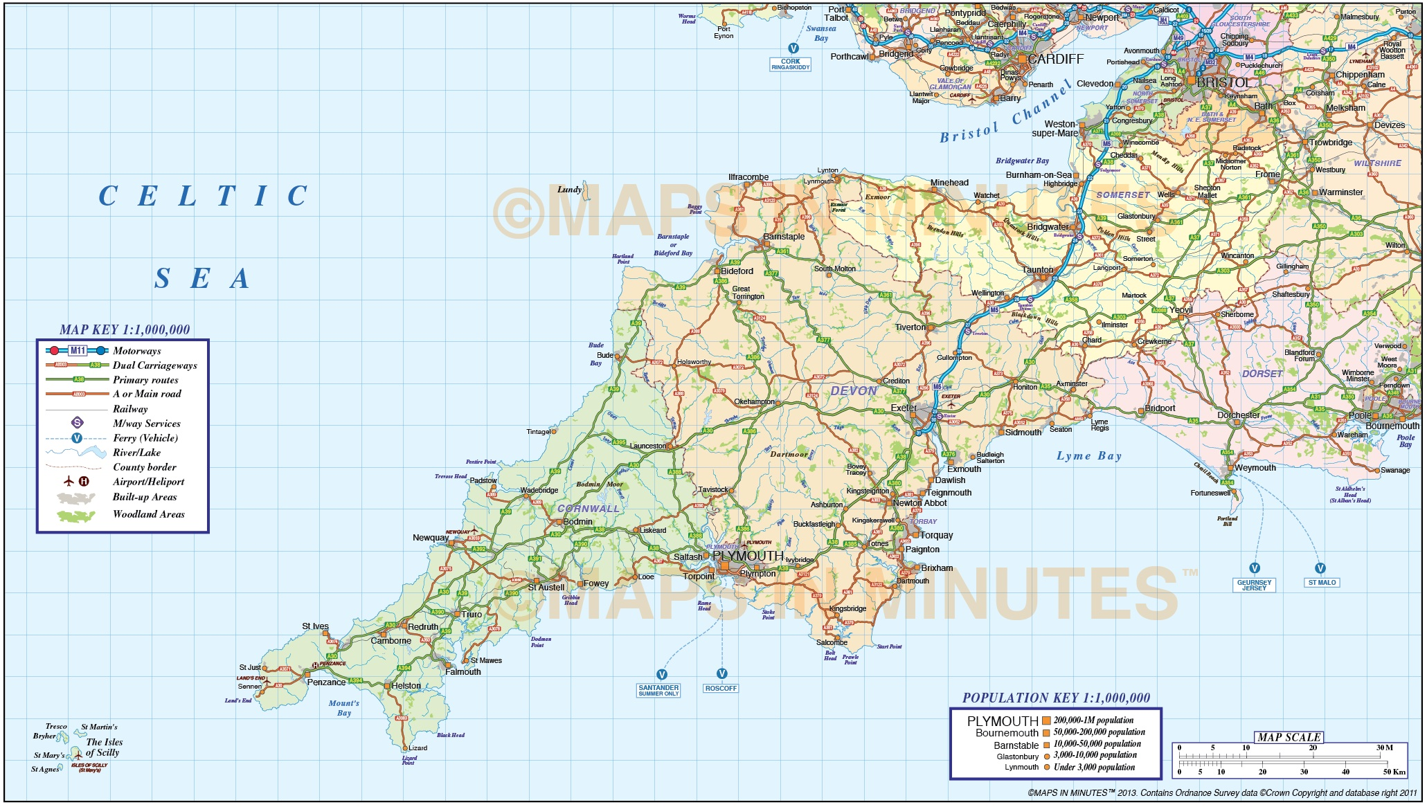 Map Of South West Map Of Sw England ~ CVLN RP
