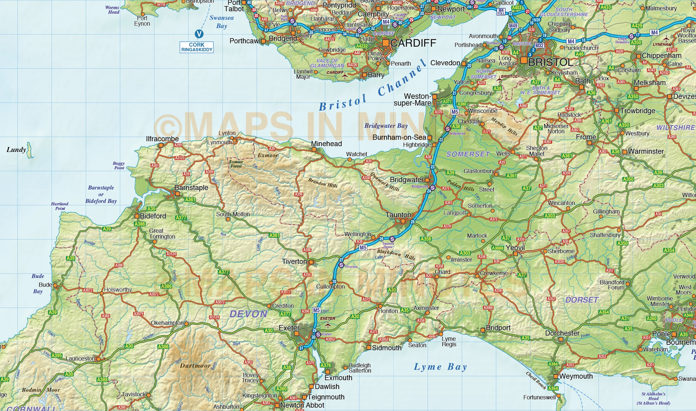 south west england county road  u0026 rail map with regular relief  1m scale in illustrator vector format