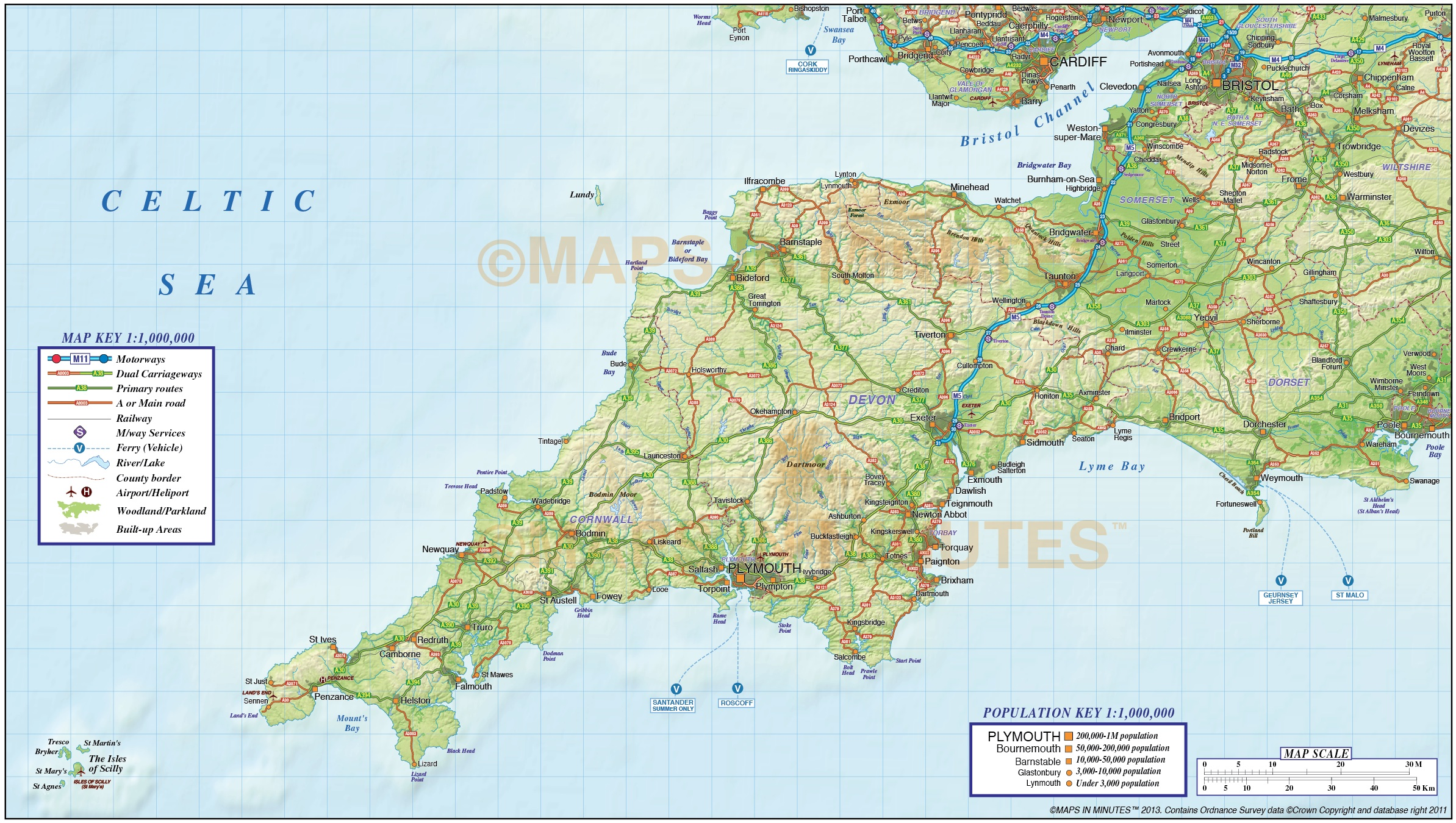Map Of The South England.South West England County Road Rail Map With Regular Relief 1m