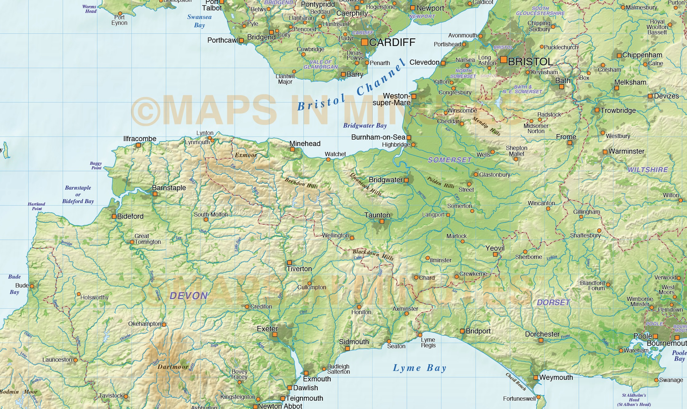 south west england county map with regular relief  1 000 000 scale in illustrator and pdf vector
