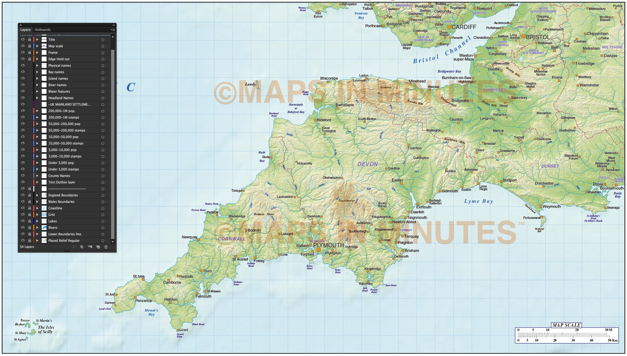 South West England County Map with regular relief 1000000 scale – Map Uk South