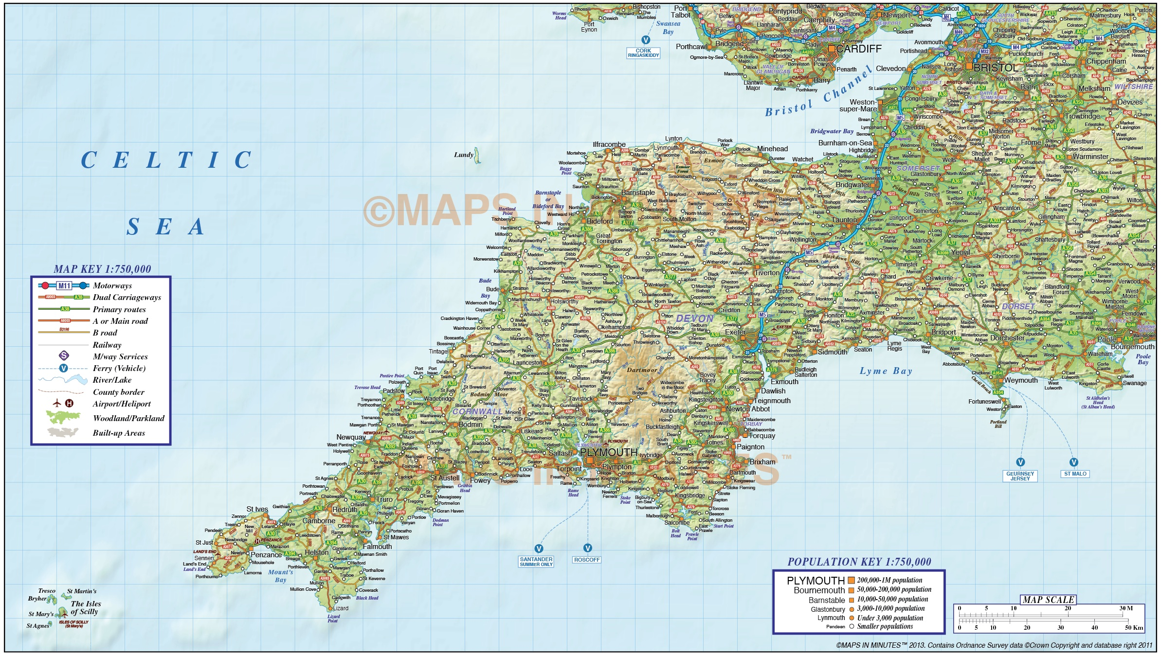 South West England Political County Road Rail Map With Regular