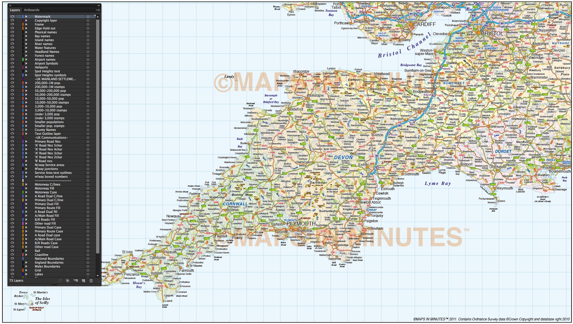 Show Map Of England.South West England County Road And Rail Map At 750k Scale In