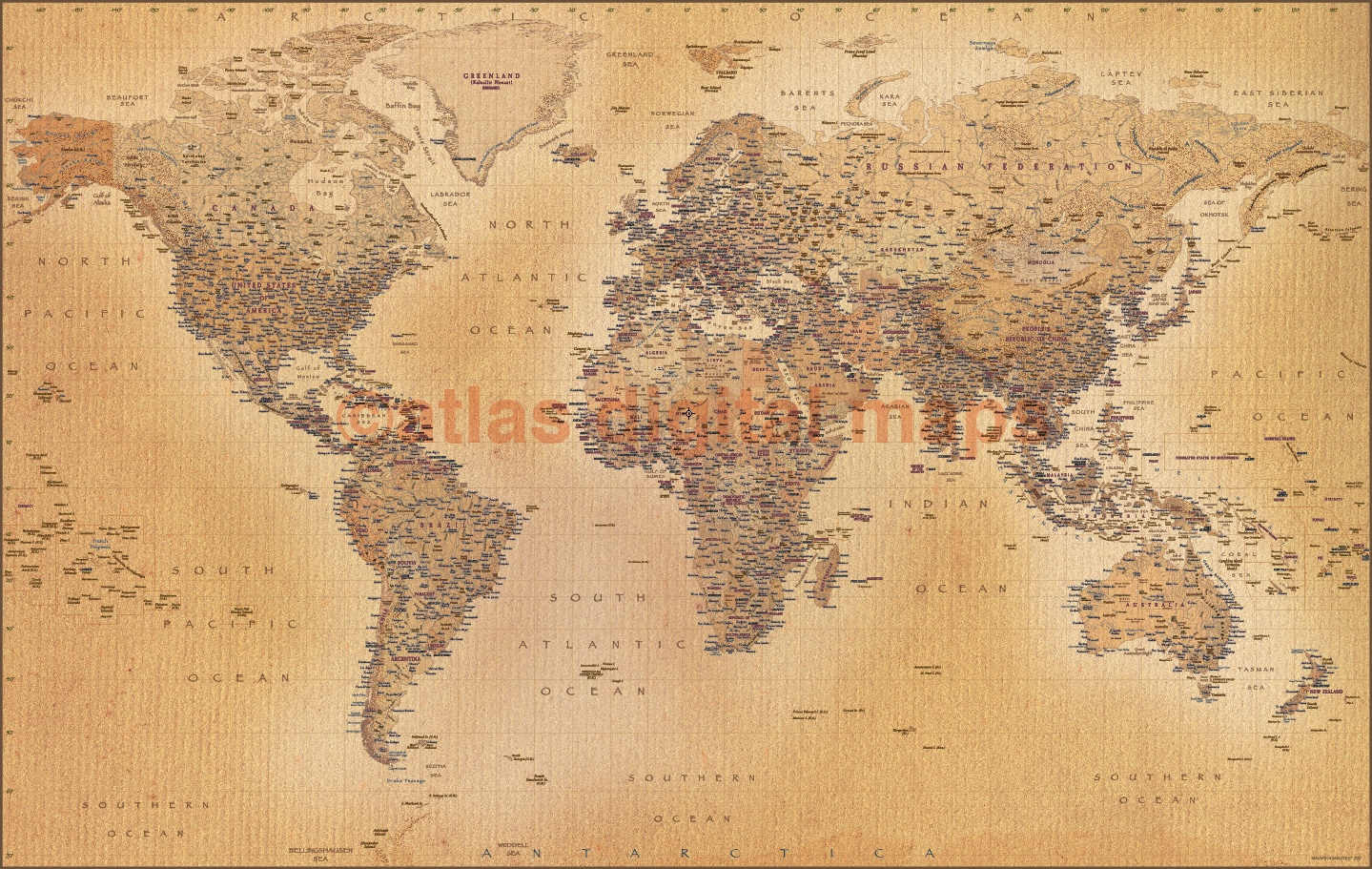 World wall map vinyl print tan antique style political relief 60 x 38 vinyl antique style tan world map large size 60w x 38d gumiabroncs Choice Image