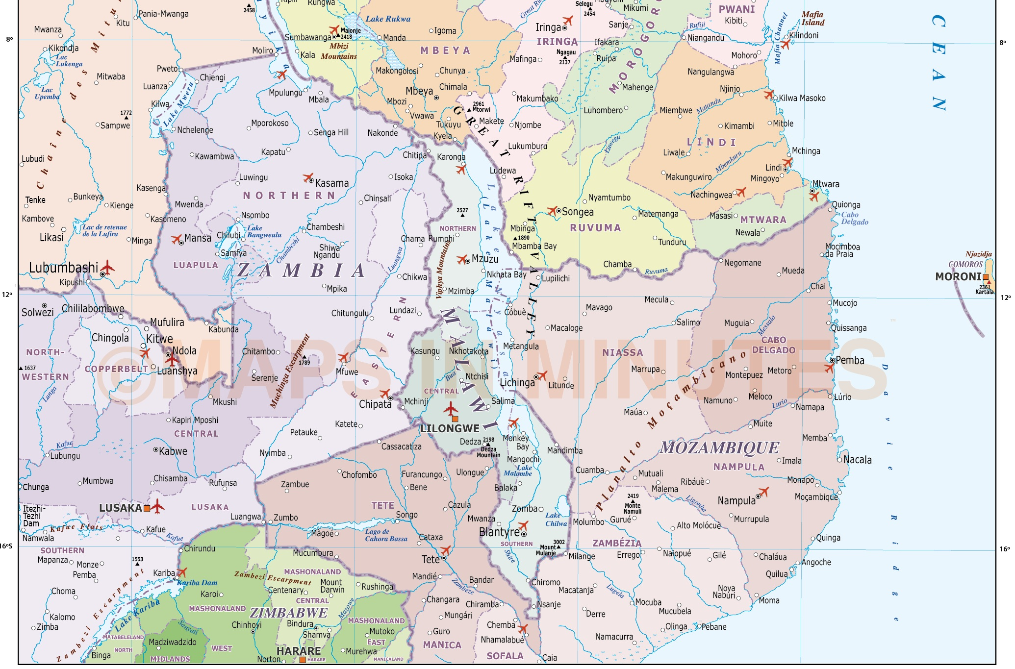 Tanzania digital vector political country map first level divisions this image detail shows the tanzania internals plus internal fills for surrounding gumiabroncs Image collections
