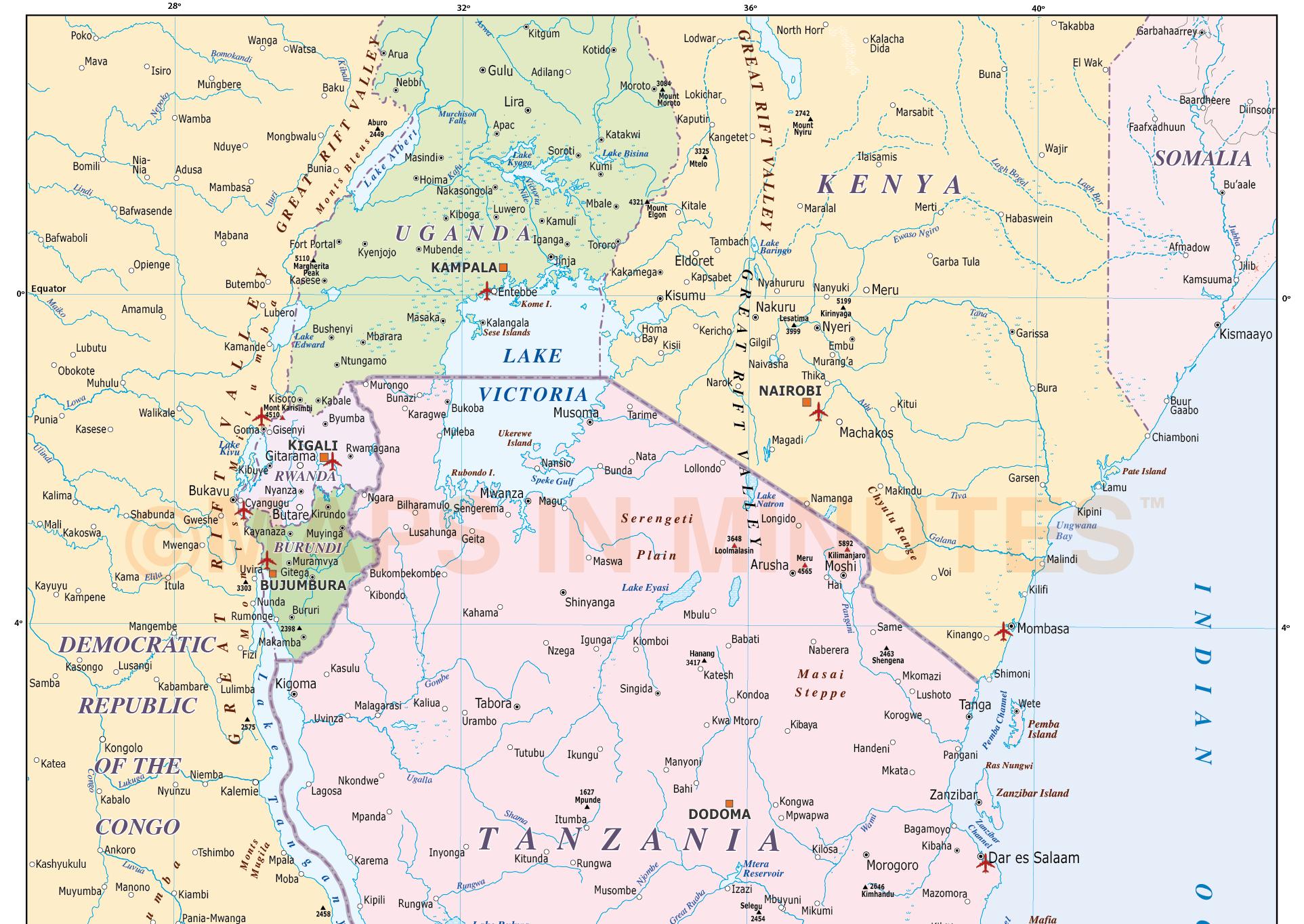tanzania digital vector political country map in