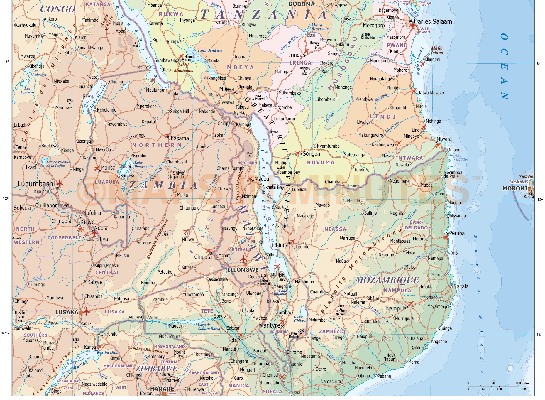 Tanzania digital vector political road rail map with land and