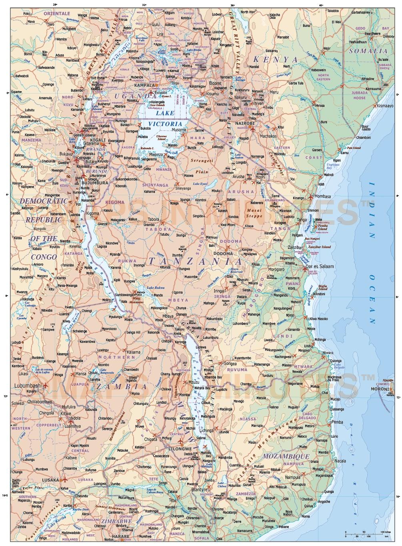 Tanzania Digital Vector Political Road Amp Rail Map With