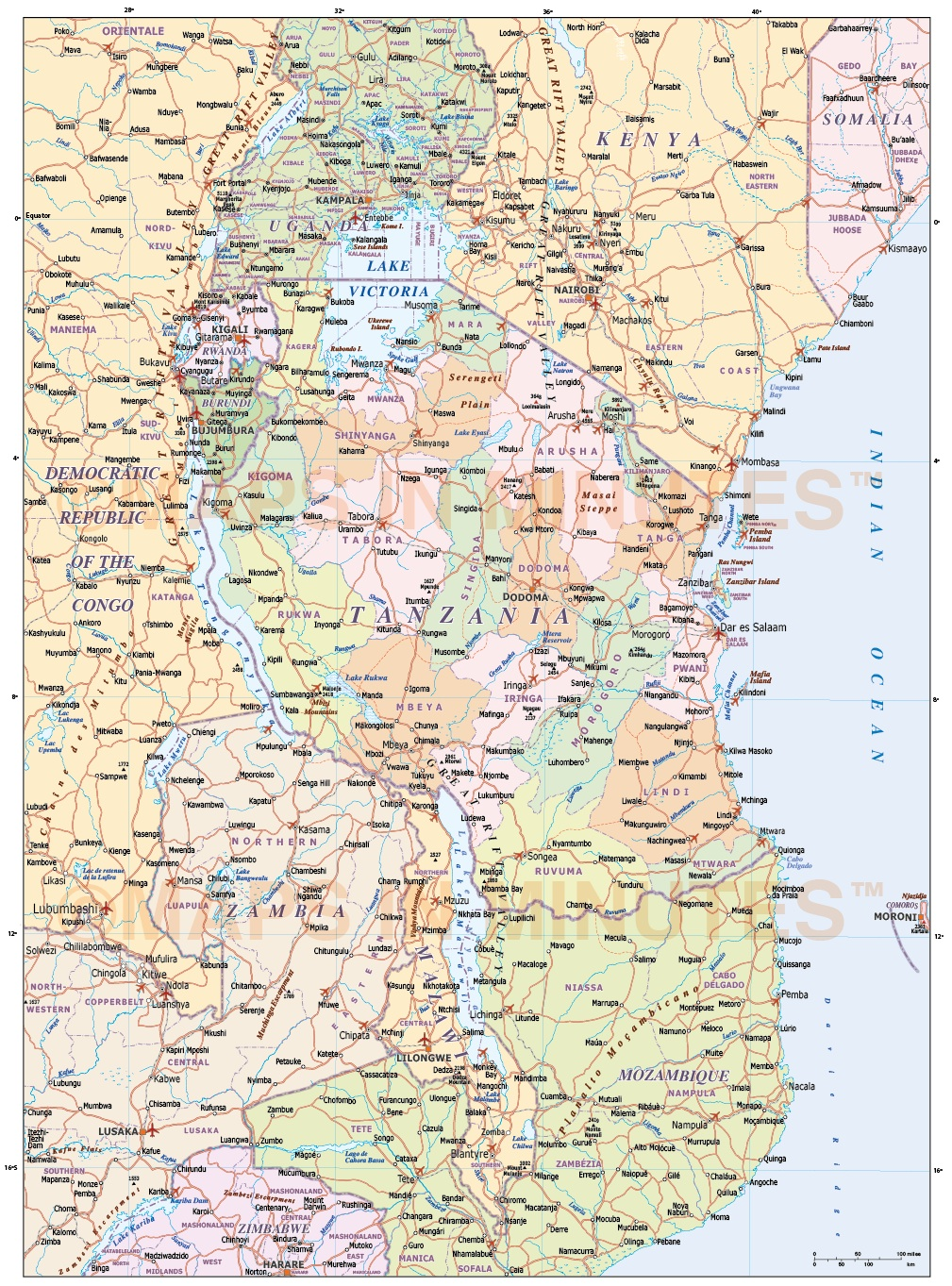 Tanzania Political Map.Tanzania Digital Vector Political Road Rail Map With Land And