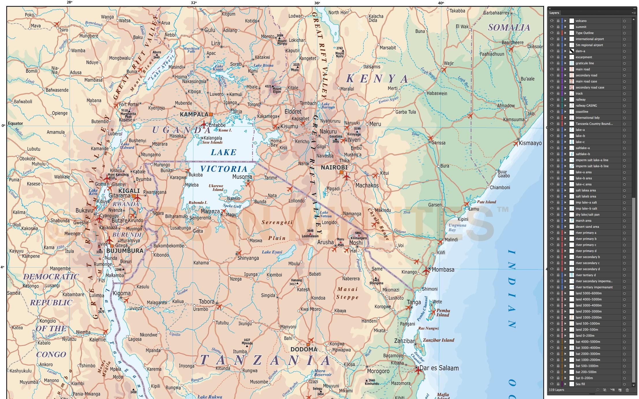 digital vector tanzania map road rail plus land and sea contours in illustrator format