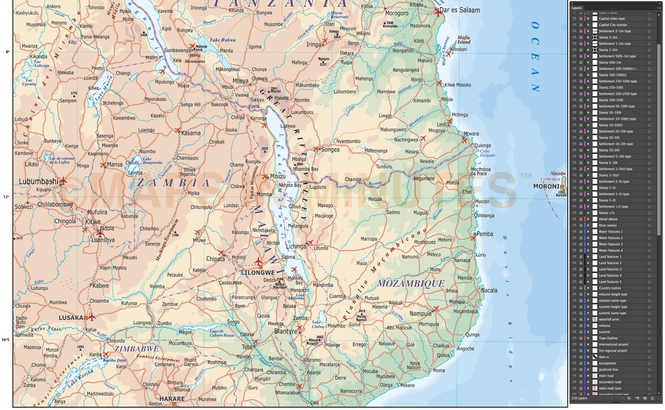 Digital Vector Tanzania Map. Political, Road & Rail Map With Land And Ocean Floor Contour