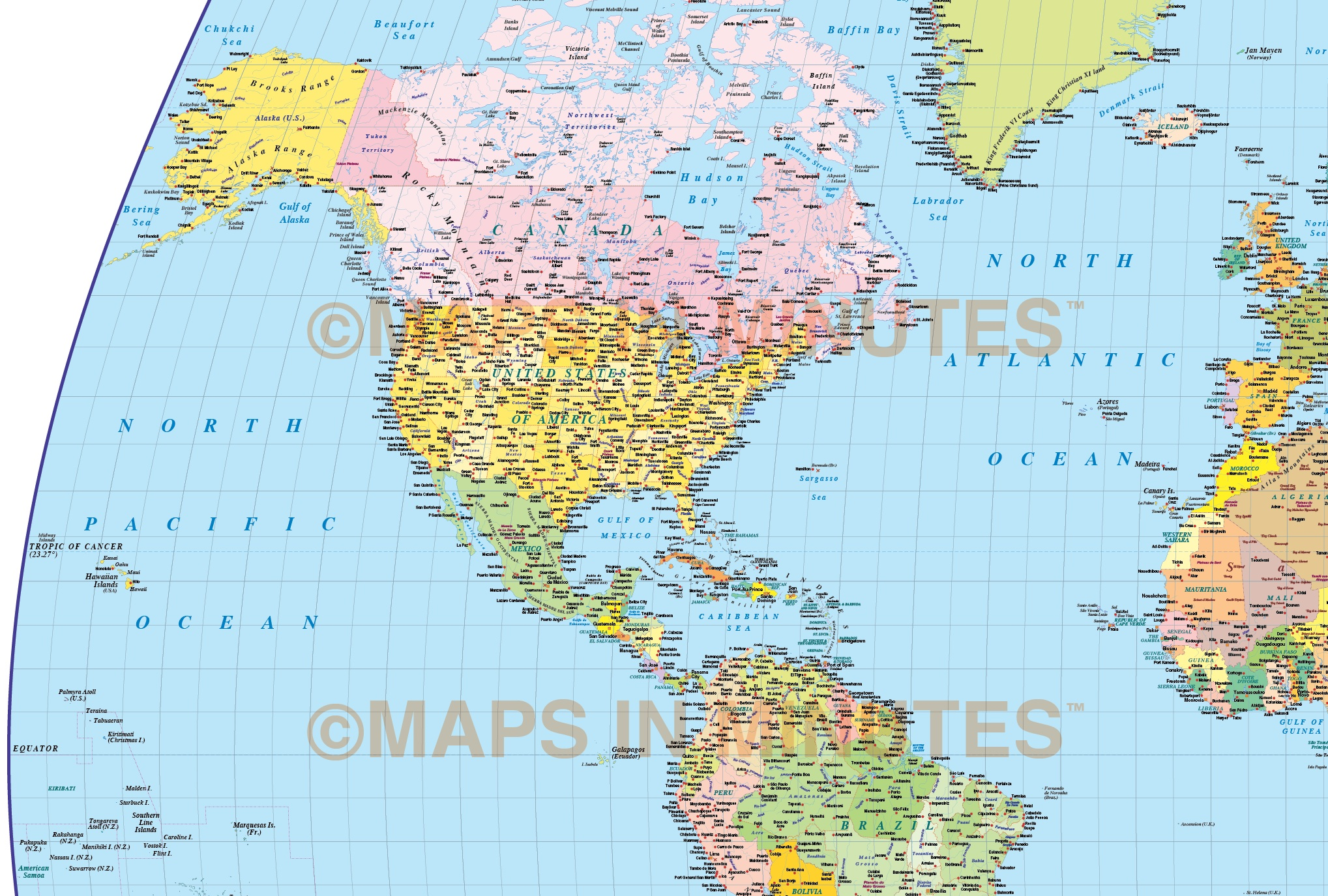 Vector World map Times Projection Political UK centric @10M ...