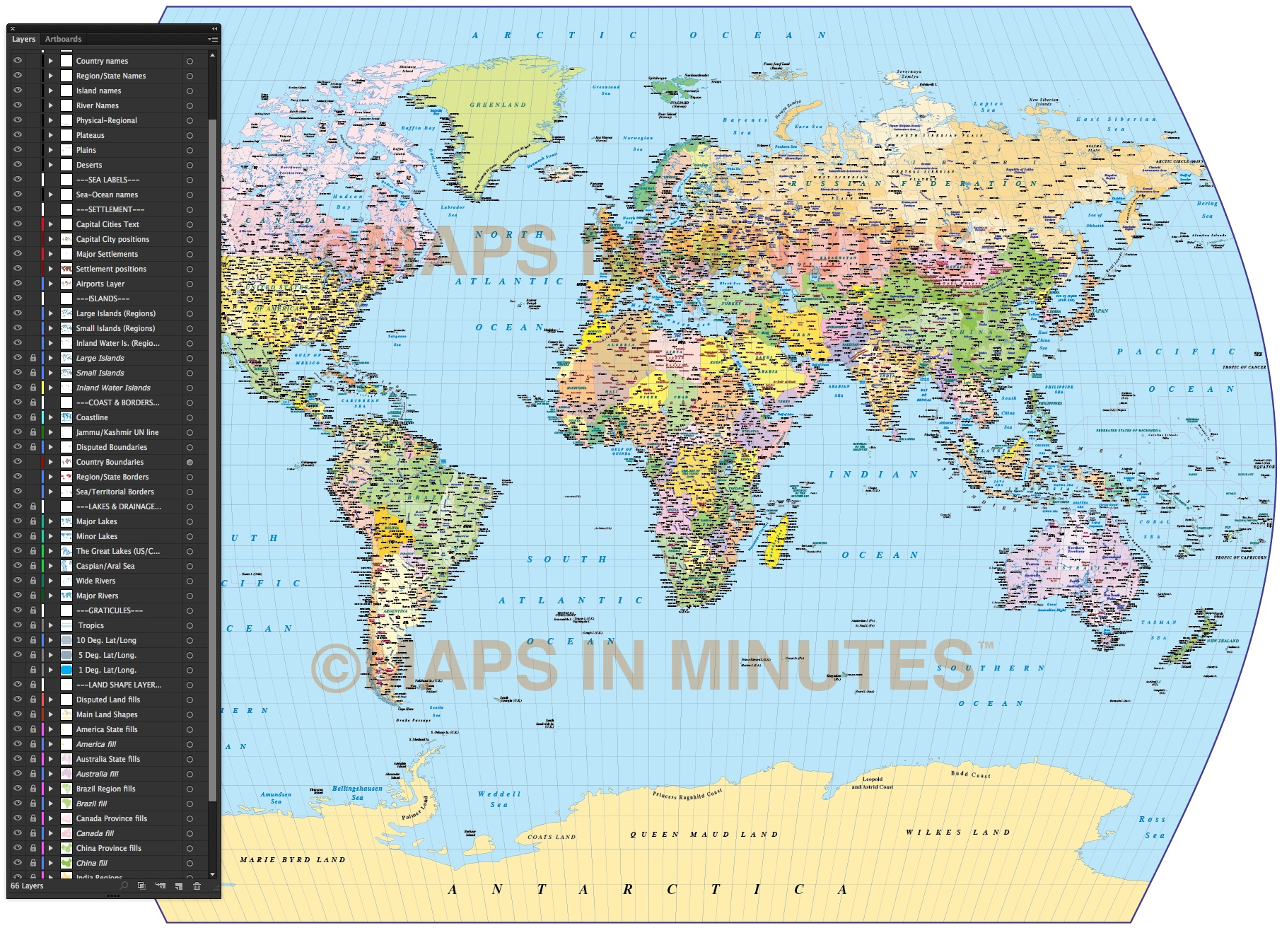 Vector World map Times Projection Political UK centric 10M scale in