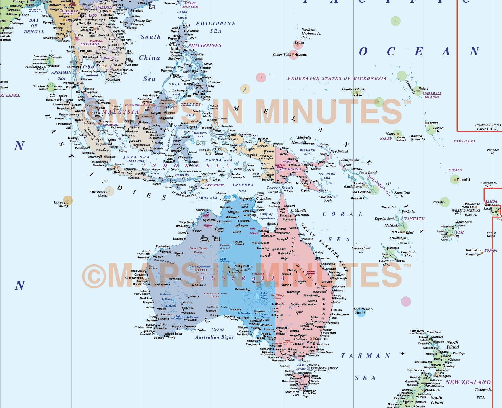 Digital Vector World Map Gall Projection Political Time Zones UK - Us time zone map pdf